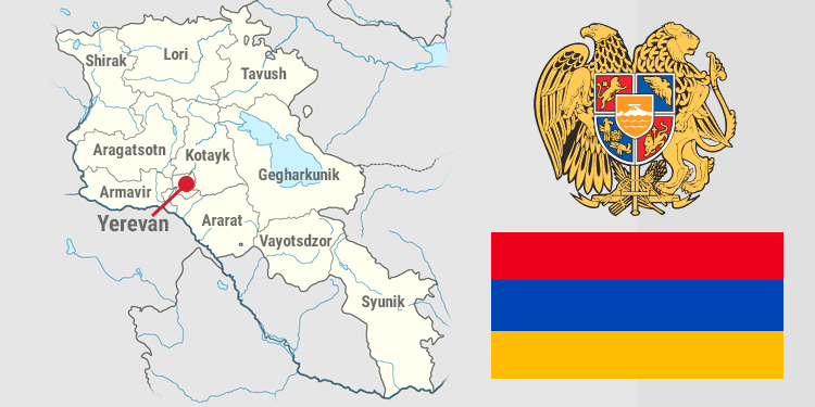Map and national symbols of Armenia