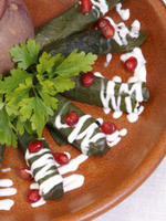 Armenian cuisine - dolma with greens and pomegranate