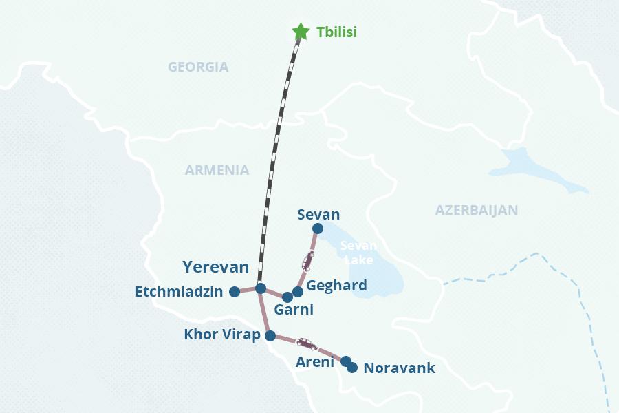Armenia Train Tour From Georgia - Yerevan georgia map