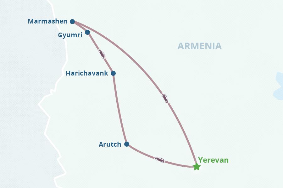 Armenia Day Tour Arutch Marmashen Gyumri Harichavank - Gyumri map