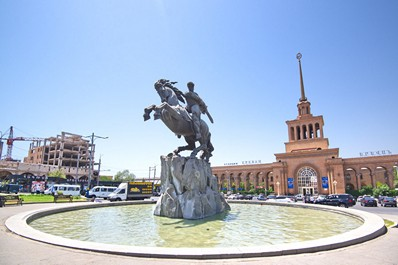 Statue of David of Sasun in Yerevan, Armenia