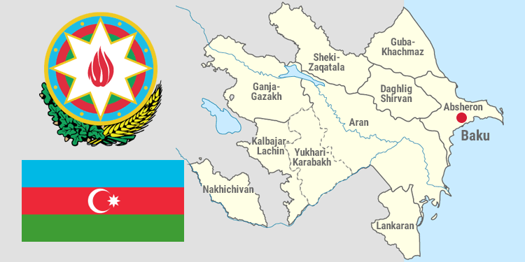 Map and national symbols of Azerbaijan