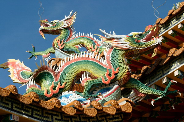 Teahouse In Shanghai The Figure Of A Dragon On Roof Chinese Temple Title