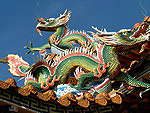 The figure of a dragon on the roof of a Chinese temple title=