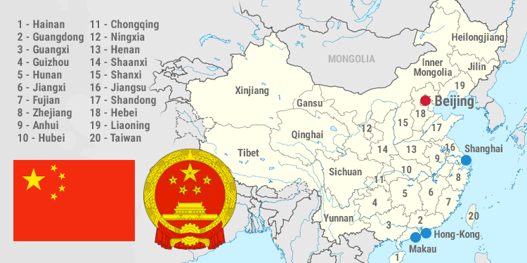Map and national symbols of China