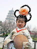 Chinese girl dressed in national costume