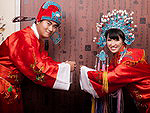 The traditional Chinese wedding dress of bride and groom