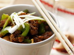 Chinese Cuisine: spicy chicken with green pepper and rice