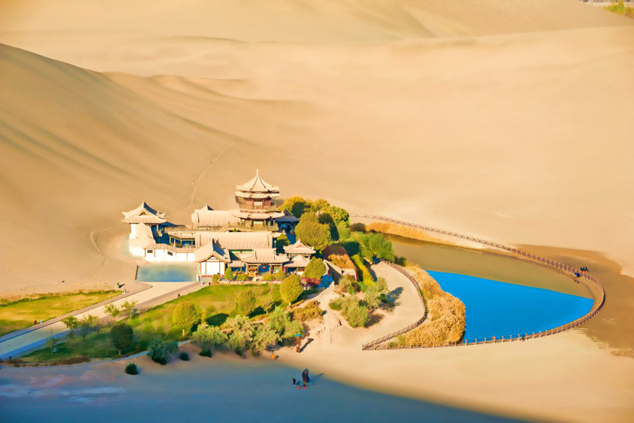 the oasis in the gobi desert the biggest tourist center in the
