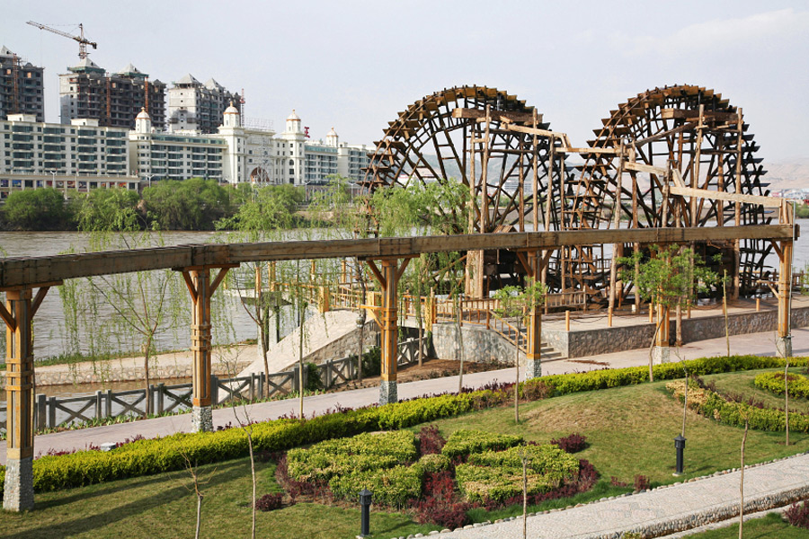 Beautiful Waterwheel Garden On The Hwang Ho River