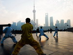 Local residents, practicing Tai Chi, Shanghai
