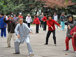 A group of elderly people practicing Tai Chi. Shanghai
