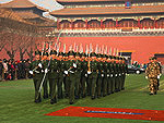 New history of China: The Chinese Army - Young soldiers marching through the Forbidden City