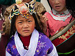 Population of China: Little girl from Tibet in traditional clothes