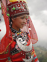 Population of China: Girl in traditional costume of Dong national minority