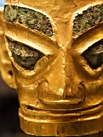 Pre- imperial China: Bronze head with a gold mask, the end of the Shang Dynasty (13th - 11th century BC)