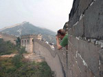 Tourist on the Great Wall of China
