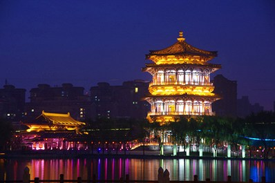 Tang Building in Xian at night, China