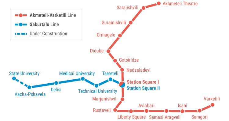 Map of Tbilisi Metro