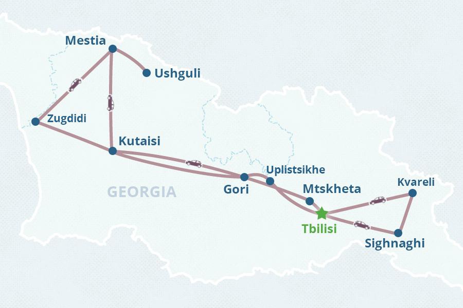 Map Of Georgia Hotels.Georgia Grand Tour