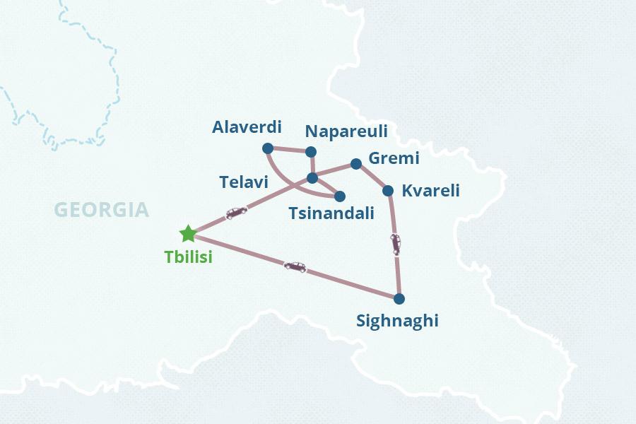 Map Of Kakheti Georgia.Two Day Kakheti Tour