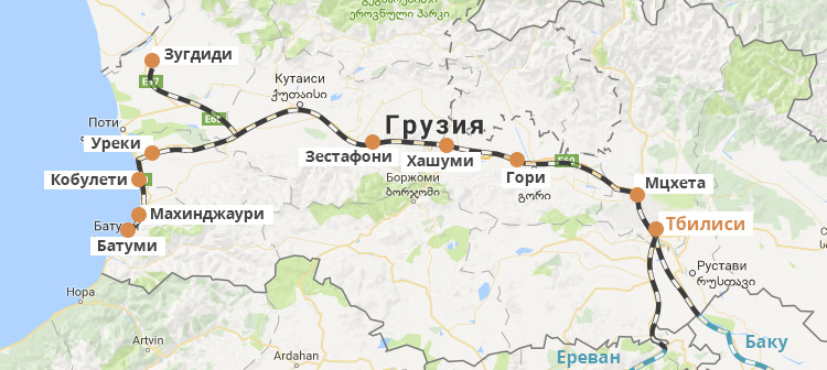 Gruzinskie Zheleznye Dorogi O Kompanii Vidy Poezdov Karta
