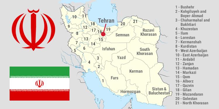 Map and national symbols of Iran