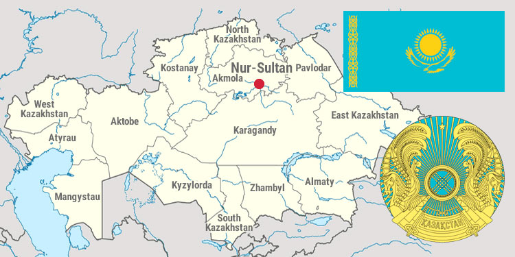 Map and national symbols of Kazakhstan