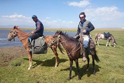 Horseback riding around Son-Kul Lake