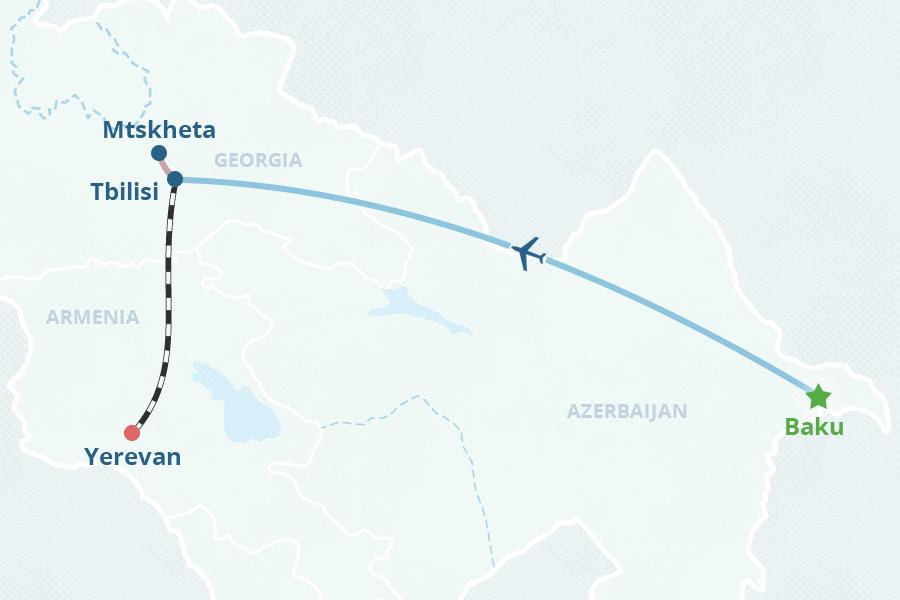 Capitals Of Caucasus Tour - Yerevan georgia map