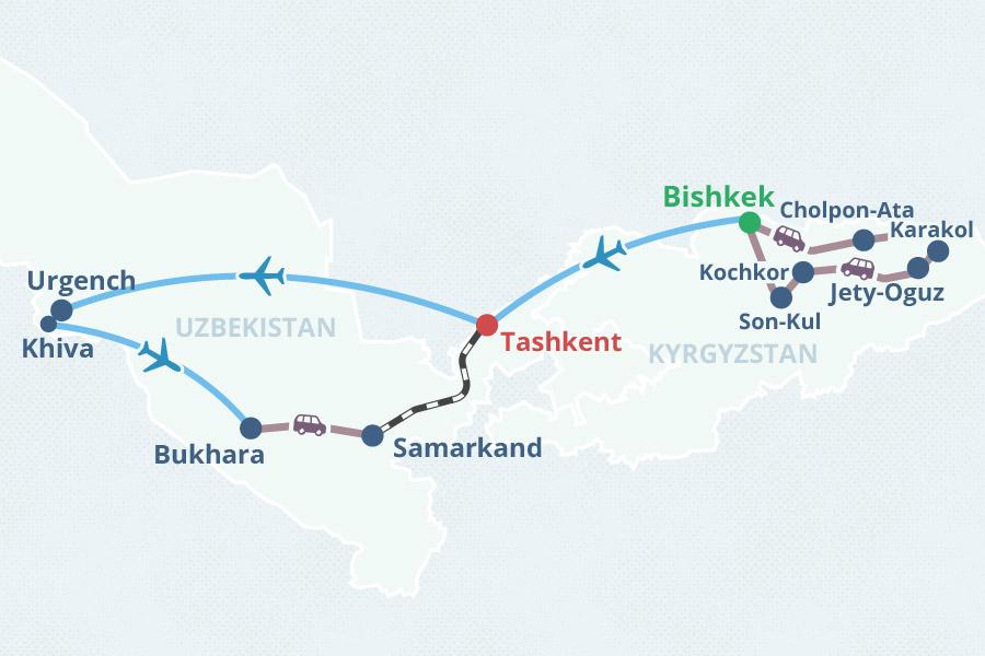 Kyrgyzstan uzbekistan small group tour with scheduled dates 2018 tour map publicscrutiny Gallery