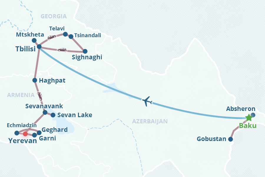 South Caucasus Day Tour Georgia Armenia Azerbaijan - Yerevan georgia map