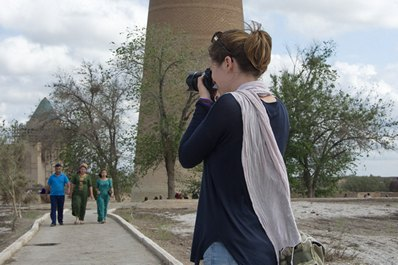 Traveler in Kunya-Urgench, Turkmenistan