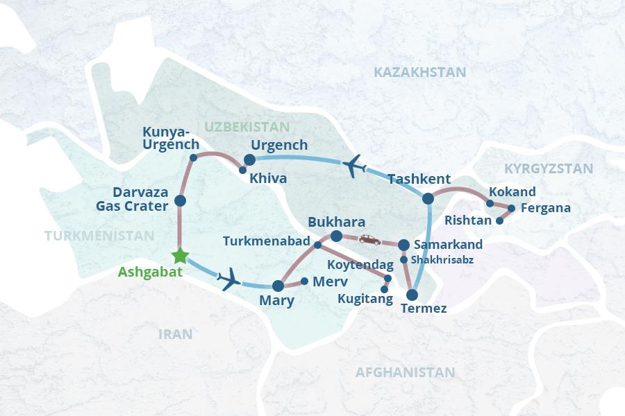 Turkmenistan Uzbekistan Tour 4 Ashgabat Mary Merv Turkmenabat