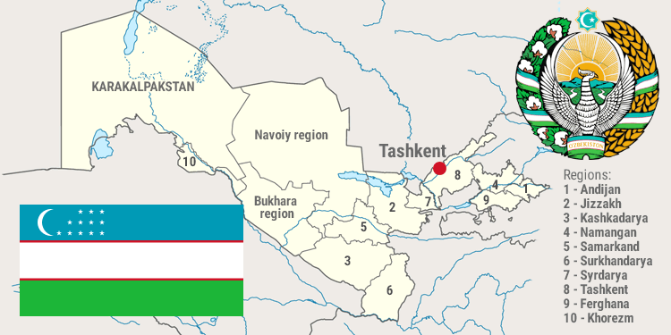Map and national symbols of Uzbekistan