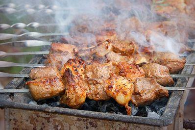 Uzbek meat dish: lamb kebab