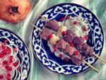 Uzbek meat dish: lamb shashlik