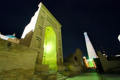 Entrance of Mausoleum of Makhmud Pakhlavan and Islam Khoja minaret, Khiva