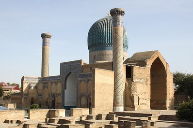 Domes and minarets of Gur-Emir in Samarkand, Uzbekistan