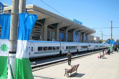 Platform of the railway station in Samarkand, Uzbekistan