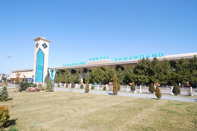 The railway station building in Samarkand, Uzbekistan