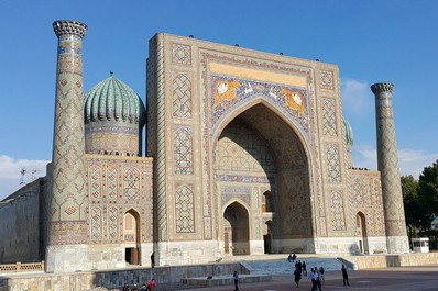 Grand entrance of the Sher-Dor Madrasah in Samarkand