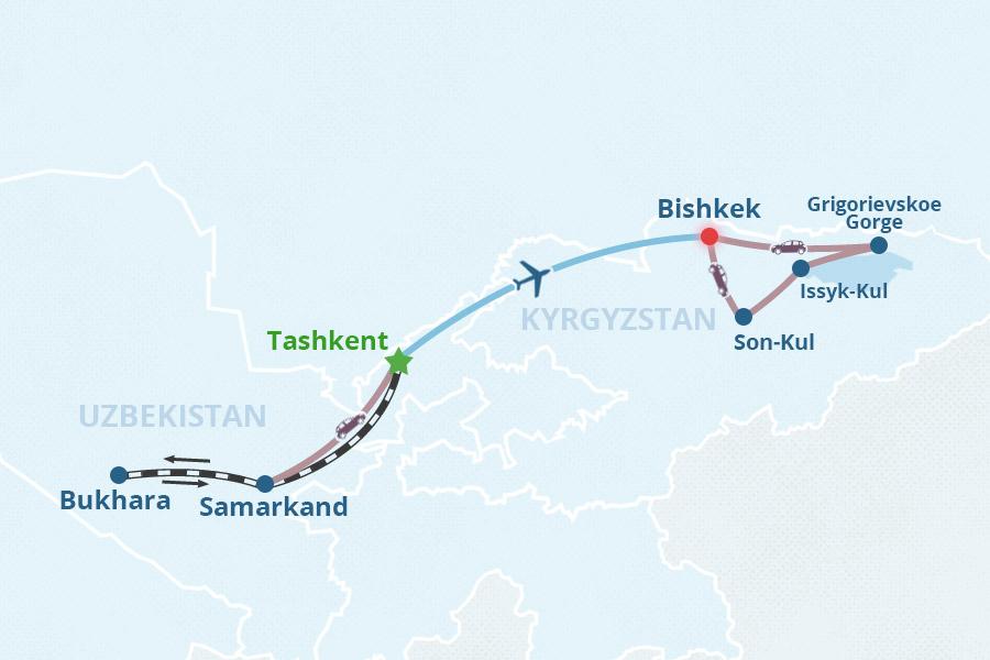 uzbekistan-kyrgyzstan-tour-1-map-big Samarkand Map on almaty map, baghdad map, central asia map, damascus map, medina map, karakorum map, singapore map, indus river map, silk road map, rome map, kashgar map, merv map, seville map, odessa map, uzbekistan map, urumqi map, tashkent map, herat map, timbuktu map, oxus river map,