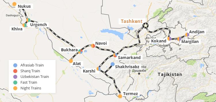 Uzbekistan Railways map
