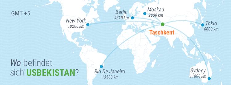 Usbekistan Reiseführer: Usbekistan auf der Weltkarte