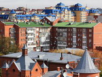 Modern residential buildings in Omsk, Russia