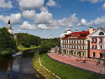 The ancient castle and promenade with houses, Pskov