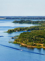 Aerial view of Volga River, Saratov