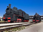 Old steam locomotive at the depot. Museum of Technology in Togliatti