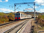 Freight train moving along the Trans-Siberian Railway